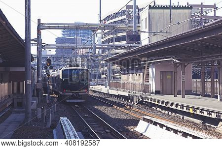 Osaka ,japan - Dec 7 : Train Approaching Osaka Station On December 7,2015 In Osaka,japan. This Is A