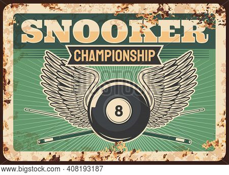 Snooker Pool Billiards Club Rusty Metal Plate, Balls, Cue And Table Sport Championship, Vector Retro