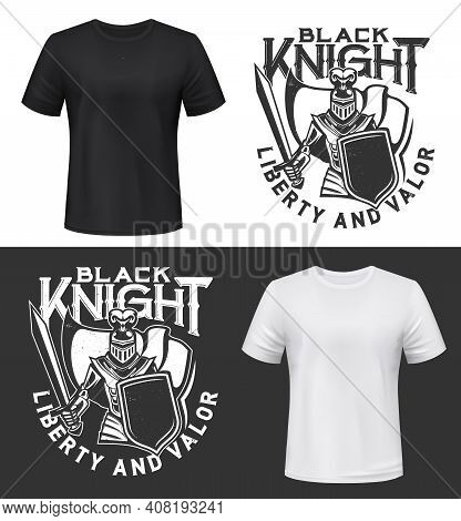 Knight Warrior With Shield And Sword T-shirt Print Mockup, Fight Club Or Guard Vector Emblem. Mediev