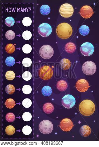 Math Game For Kids, How Many Planets In Space. Vector Estimate Task, Counting Practice For Preschool