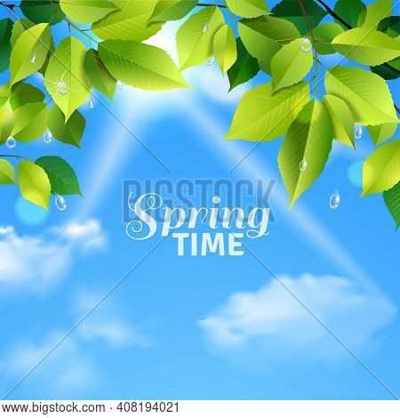 Spring Time Realistic Poster With Rain Drops Falling From Green Leaves On Cloudy Sky Background Vect