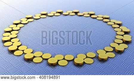 Bitcoins In Circle With Rotating Camera Movement, Crypto Currency, Btc Currency, Business And Techno