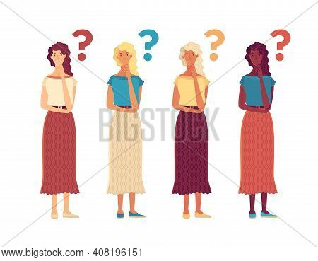 Thoughtful Girls Flat Vector Characters Set. Question And Problem Cartoon Illustration. Young Women
