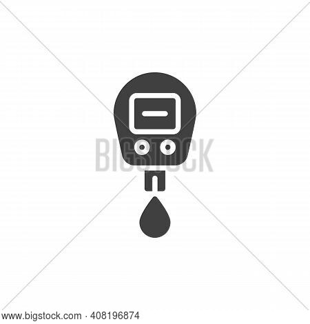 Diabetes Glucose Meter Vector Icon. Filled Flat Sign For Mobile Concept And Web Design. Blood Sugar