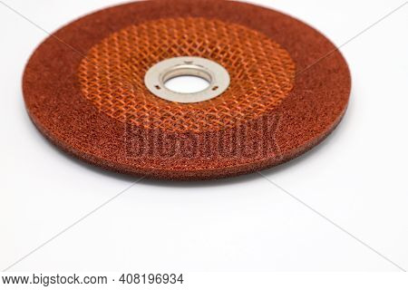 Abrasive Wheel, Grinding Disc Of Orange, Isolated On White Background. Abrasive Materials, Discs, To