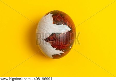 Easter Egg On A Yellow Background. Easter Background
