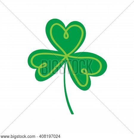 St. Patricks Day Logo, Shamrock Vector Clipart. Green Doodle Element Isolated On White Background.
