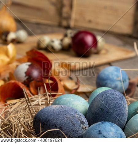Easter Egg Coloring At Home Concept. Process Of Painting Eggs
