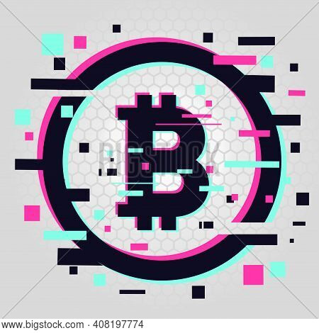 Crypto Currency Coin. Vector Emblem. Blockchain Technology Background. Digital Financial Icon, Glitc