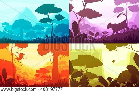 Jungle Set Of Cartoon Landscapes With Rain Forest With Lush Flora, Silhouettes Of Animals, Isolated