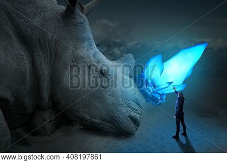 Man Has Unreal Encounter With Giant Rhino, Blue Glowing Crystal