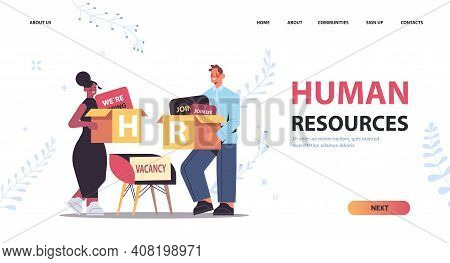 Mix Race Hr Managers Couple Holding Cardboard Boxes Human Resources Recruitment Talent Management Co