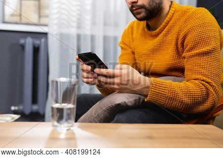 Cropped Photo Of A Beard Adult Man, Dependent Of Virtual World. Online Psychotherapy Session, A Glas