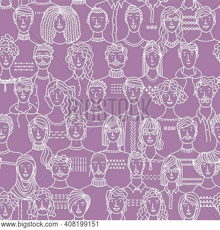 Seamless Pattern Of Diverse People Group. Linear Crowd Boundless Background With Various Men And Wom
