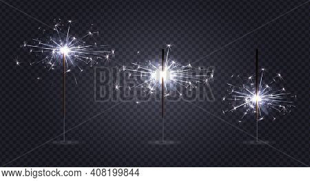 Bengal Lights Pyrotechnics Realistic Set On Transparent Background With Three Sticks At Different St