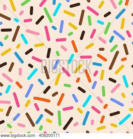 Donut Vanilla Glaze, Creamy Cupcake Icing Seamless Pattern. Pastry Decor On White Backdrop. Sugary D