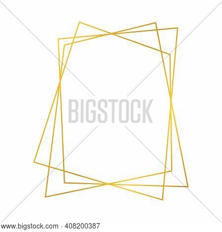Gold Geometric Polygonal Frame With Shining Effects Isolated On White Background. Empty Glowing Art