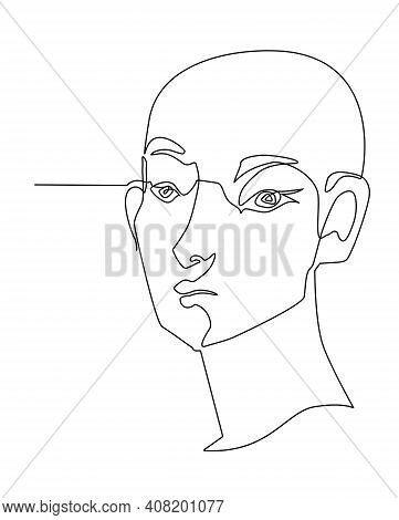 One Line Drawing Face. Modern Single Line Art Contour Portrait, Contour.  Vector Illustration