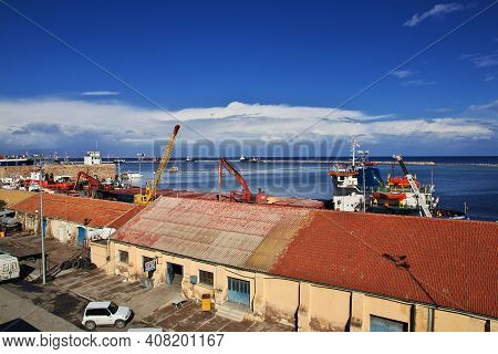 Famagusta, Northern Cyprus - 08 Jan 2016: The Seaport In Famagusta, Northern Cyprus