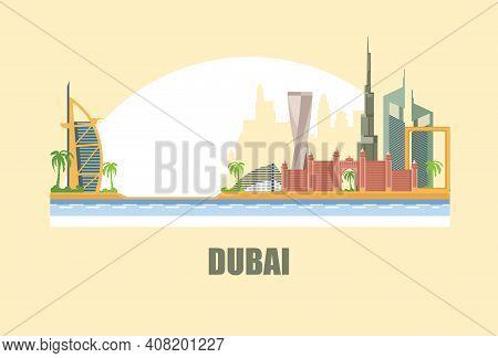 Dubai City Skyline. A City In The Desert.