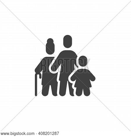Grandmother With Daughter And Child Vector Icon. Filled Flat Sign For Mobile Concept And Web Design.