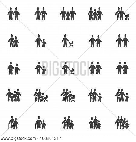 Family And Relationship Vector Icons Set, Modern Solid Symbol Collection, Filled Style Pictogram Pac