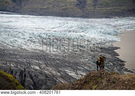 Svinafellsjokull, Iceland - July 22, 2017: Svinafellsjokull Glacier, Part Of Vatnajokull Glacier. Sk