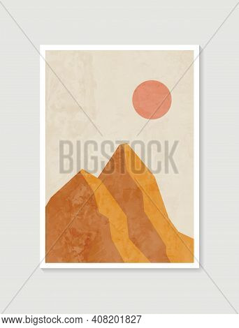 Mountain Wall Art. Vector Earth Tones Landscapes Backgrounds Set With Moon And Sun. Abstract Arts De