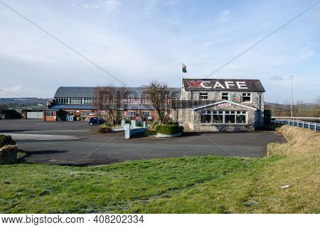 Lloc; Uk: Feb 11, 2021: The Premises Of The Dragons Rest Cafe Which Is Located Beside Junction 22 Of