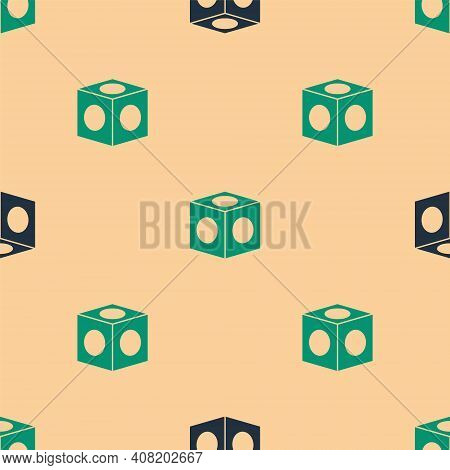 Green And Black Billiard Chalk Icon Isolated Seamless Pattern On Beige Background. Chalk Block For B