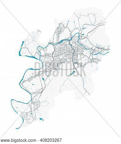 Daegu Map. Detailed Map Of Daegu City Administrative Area. Cityscape Panorama. Royalty Free Vector I