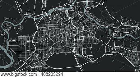 Urban City Map Of Daegu. Vector Illustration, Daegu Map Grayscale Art Poster. Street Map Image With