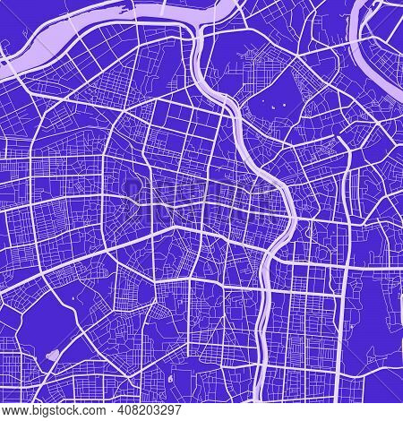 Detailed Map Of Daegu City Administrative Area. Royalty Free Vector Illustration. Cityscape Panorama