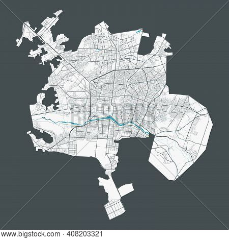 Isfahan Map. Detailed Map Of Isfahan City Administrative Area. Cityscape Panorama. Royalty Free Vect