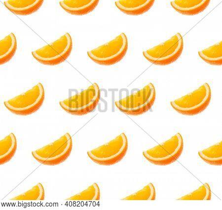 Orange fruit seamless pattern. Orange segments isolated on white background. Food background.