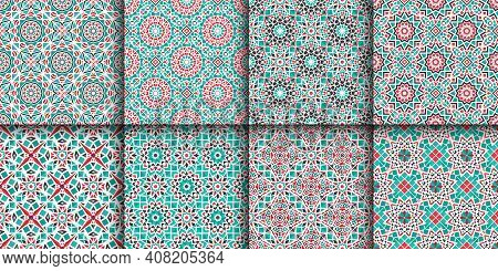 Seamless Textures With Turquoise Arabic Geometric Ornament. Vector Asian Mosaic Patterns Set With Al