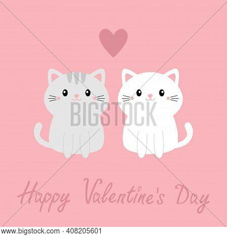 Happy Valentines Day. Cute Gray White Cat Kitty Kitten Set. Big Heart. Kawaii Cartoon Character. Smi