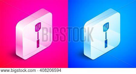White Barbecue Spatula Icon Isolated With Long Shadow. Kitchen Spatula Icon. Bbq Spatula Sign. Barbe
