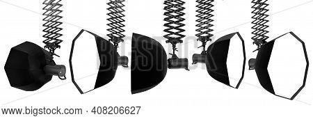 Photography Studio Flash On Ceiling Pantograph With Octobox Isolated On White. Background With Clipp