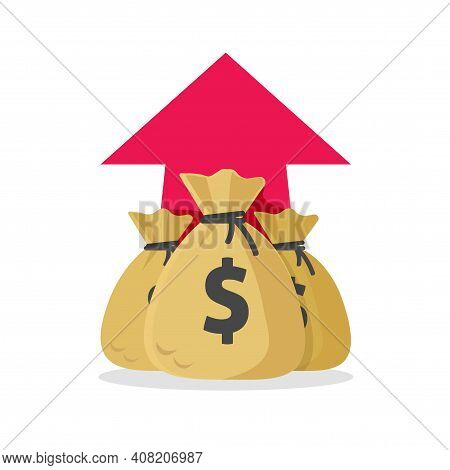 Money Profit Rising Up Concept Vector Or Cash Business Income Revenue Idea Flat Cartoon Illustration