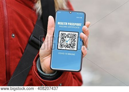 Concept For Corona Virus Vaccination Passport On Mobile Phone Device To Allow Vaccinated People Priv