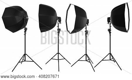 Studio Lighting Stands With Flash And Octobox Isolated On The White Background With Clipping Path. 3