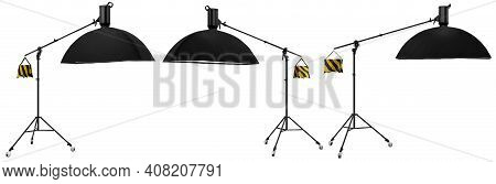 Studio Lighting Stands With Flash And Softbox Isolated On The White Background With Clipping Path. 3