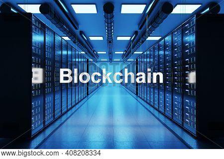 Blockchain Logo In Large Modern Data Center With Rows Of Network Internet Server Racks, 3d Illustrat