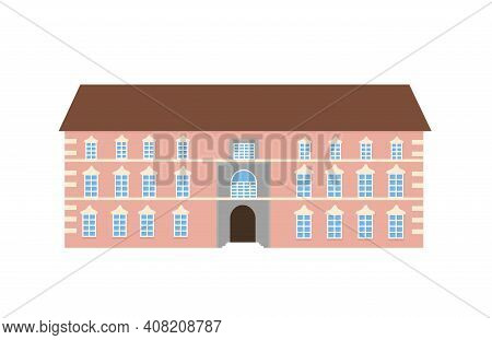 Medieval German Romantic Old Mansion. Brown Fasades, Grey Roof, White Windows. European Colonial Vic
