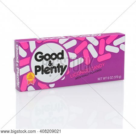 IRVINE, CALIFORNIA - DECEMBER 12, 2014: A box of Good and Plenty Candy. First produced by the Quaker City Confectionery Company in 1893, it is the oldest branded candy in the United States.