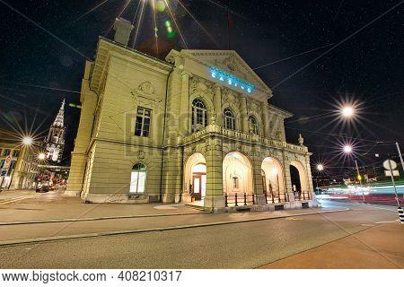 Bern, Switzerland - Aug 23, 2020: Entrance Of Grand Casino Bern With Illuminated By Evening. Bern Un