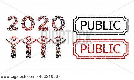 Collage 2020 Gentlemen Dance Constructed From Coronavirus Items, And Grunge Public Rectangle Seal St