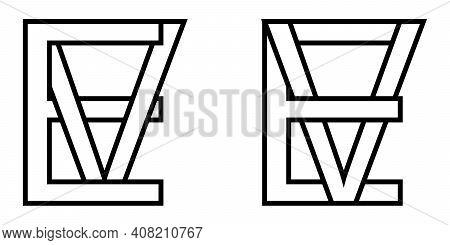 Logo Sign Ev And Ve Icon Sign Interlaced Letters V, E Vector Logo Ev, Ve First Capital Letters Patte