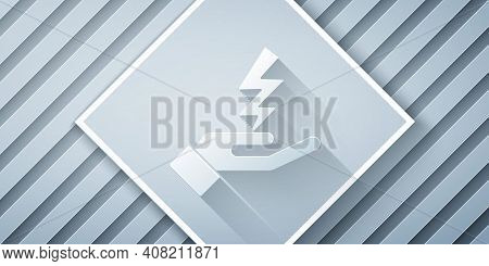 Paper Cut Zeus Icon Isolated On Grey Background. Greek God. God Of Lightning. Paper Art Style. Vecto